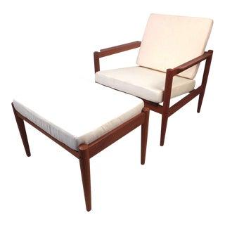 Danish Modern Lounge Chair and Ottoman by Bernstorffsminde Møbelfabrik For Sale