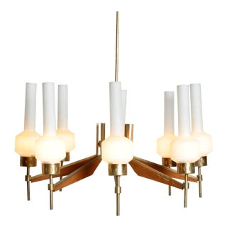 Glass Chandelier by Stilnovo For Sale