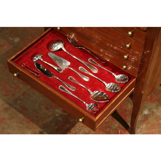 Louis XV Walnut Chest With Stamped Christofle Silver Plated Flatware - Set of 181 Pieces For Sale In Dallas - Image 6 of 13