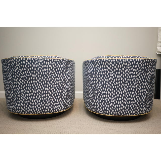 Mid-Century Baughman Style Plinth Base Swivel Chairs - A Pair For Sale - Image 9 of 12