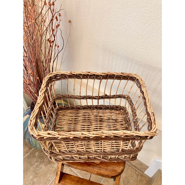 Crisscross Open Weave Handwoven Rattan & Willow Basket by Three Hands - Circa 1990 For Sale - Image 11 of 13