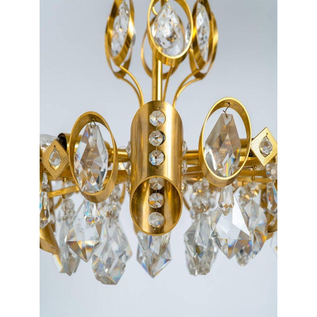 Hollywood Regency Hollywood Regency Jeweled Crystal and Gilded Chandelier by Palwa For Sale - Image 3 of 7