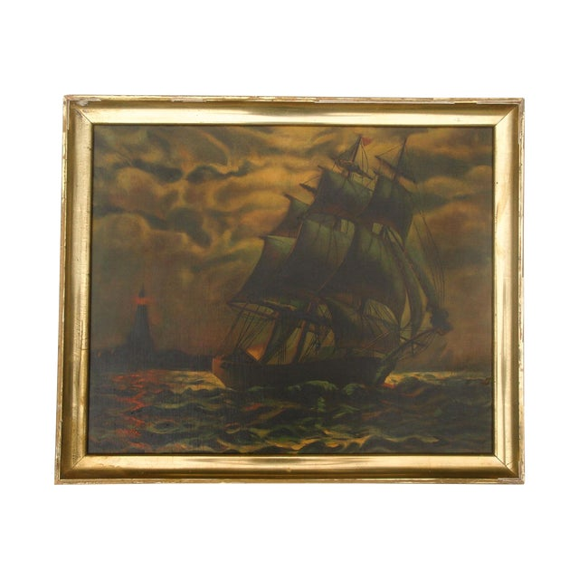 Antique Sailing Ship Oil Painting - Image 1 of 5