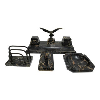 1940's Vintage Hermann Gompertz Marble Desk Set- 4 Pieces For Sale