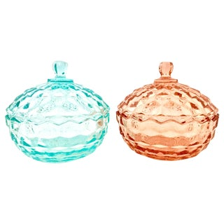 1920's American Depression Glass Diamond Cut Lidded Jars- Set of 2 For Sale