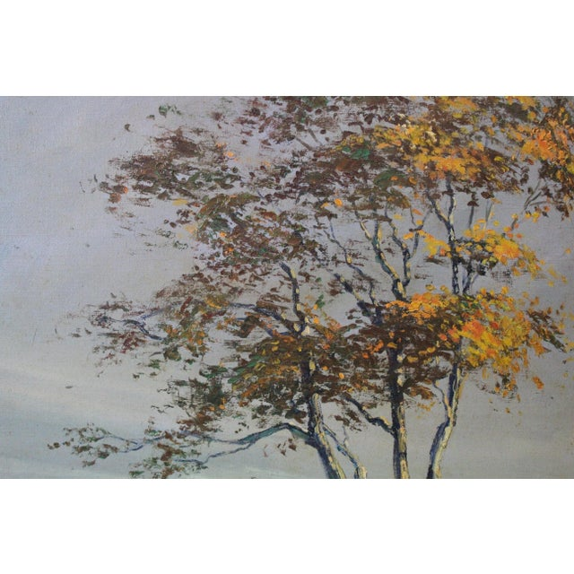 "Mid 20th Century Caddell Fall Tree ""Golden Shaft"" Oil Painting For Sale - Image 5 of 7"