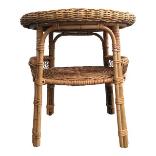 Vintage Mid-Century Bamboo and Wicker Tiered Side Table For Sale