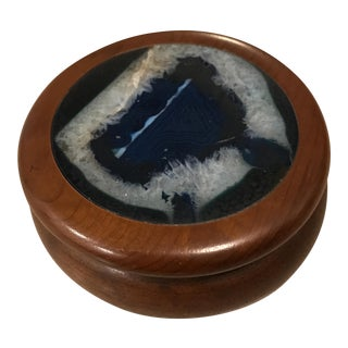 Wooden Agate Lidded Box For Sale