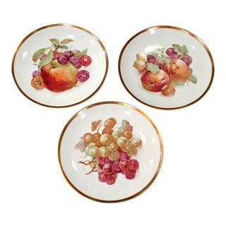 Vintage Jaegar Germany Porcelain Orchard Decorative Fruit Plates - Set of 3 For Sale