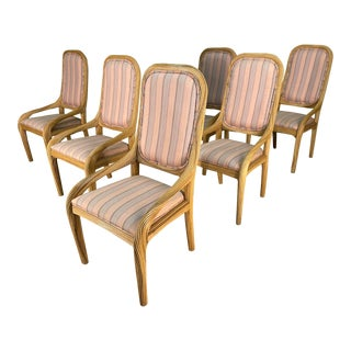 Split Reed Rattan Dining Chairs, Set of 6 For Sale