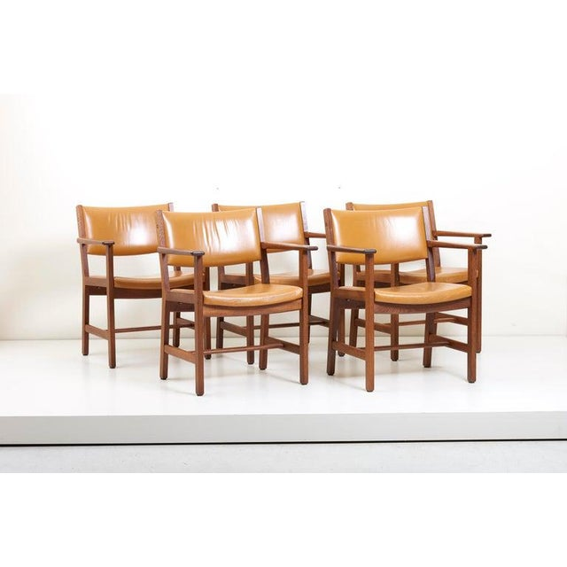 Mid-Century Modern Set of Ten Ge 1960s Armchairs in Leather by Hans Wegner for by Getama, Denmark For Sale - Image 3 of 13