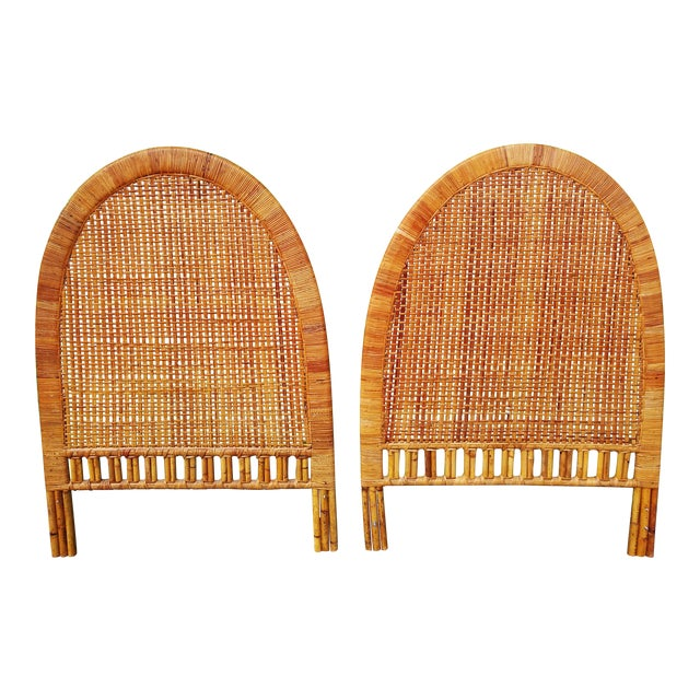 Boho Chic Handwoven Bamboo & Rattan Cane Twin Headboards - a Pair For Sale