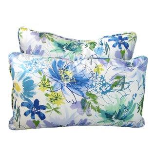 Norbar Blue Floral Lumbar Pillows - A Pair For Sale
