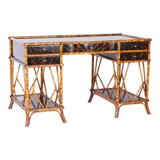 British Colonial Style Faux Bamboo and Tortoise Desk For Sale
