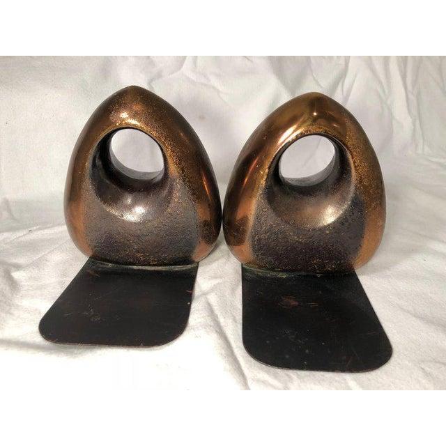 Ben Seibel JenFred Ben Seibel Copper Finish Orb Bookends - a Pair For Sale - Image 4 of 10