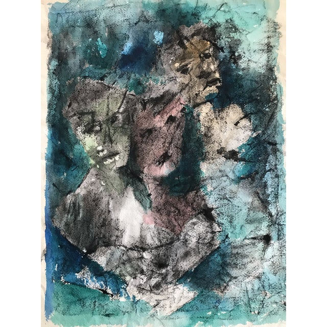 "Abstract ""The Lovers"" Original Watercolor Abstract '65 For Sale - Image 3 of 6"