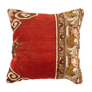 Pasargad Vintage Hand Knotted Red Rug Pillow For Sale