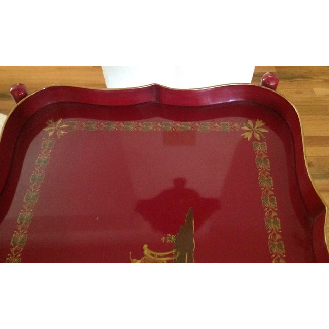 Superb Chinoiserie Style Tole Tray Table on Original Stand For Sale - Image 9 of 13