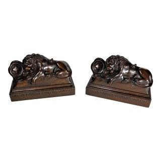 1940s Lions of Lucerne Carved Mahogany Bookends - a Pair For Sale