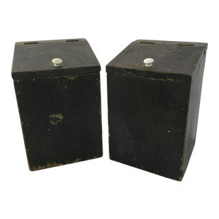 Pair of Hand Made Rustic Distressed Painted Pine Boxes For Sale
