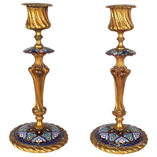 Antique French Bronze Champleve Candlesticks - A Pair For Sale
