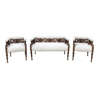 1900s Hand Carved Upholstered Settee and Chairs - Set of 3 For Sale