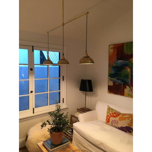 Brass 3-Light Pendant Light For Sale In Los Angeles - Image 6 of 11