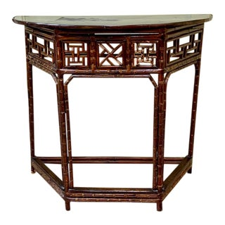 Asian Bamboo Demilune Table For Sale