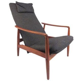 Scandinavian Modern Teak High Back Lounge Chair For Sale
