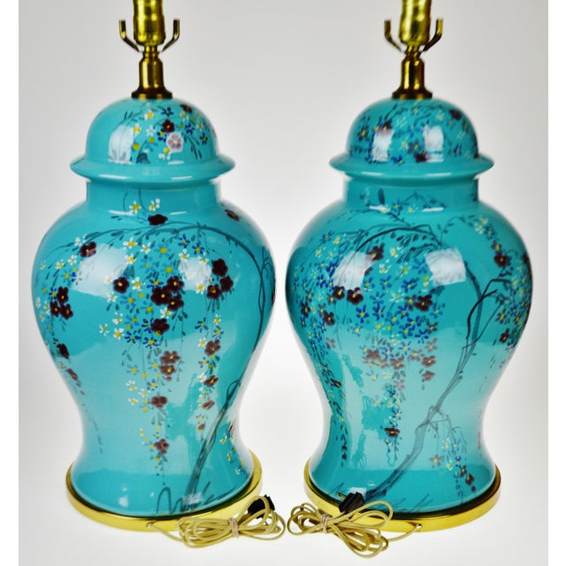 Ceramic Vintage Large Scale Aquamarine Blue Hand Painted Asian Ginger Jar Lamps - A Pair For Sale - Image 7 of 11