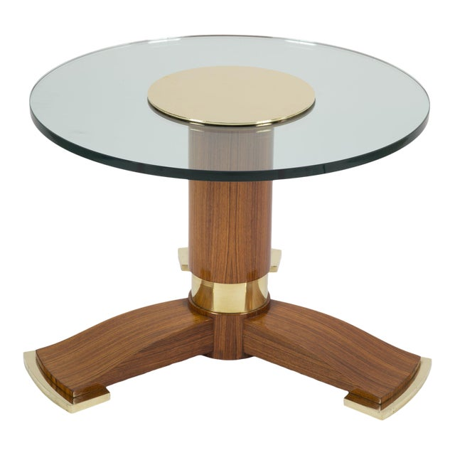 Jules Leleu Mahogany, Bronze and Glass Coffee Table For Sale