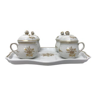 Early 20th Century Richard Ginori Pots De Creme & Tray - Set of 5 For Sale