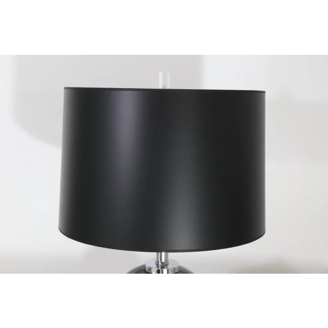 Mid Century Modern Pair of Modern Black Ceramic and Chrome Table Lamps - Image 3 of 9