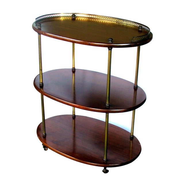 English Traditional A handsome English 3-tier solid mahogany oval etager with brass mounts For Sale - Image 3 of 5
