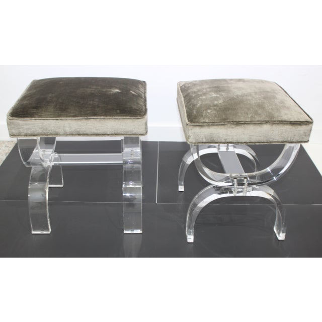 Hollis Jones style Benches Lucite and Crushed Velvet 1970s - a Pair from a Palm Beach estate. Note, thickness of pillow is...