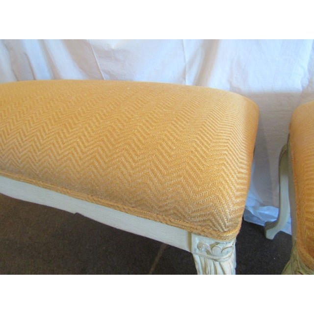 White Carved Wood Benches - A Pair - Image 4 of 6