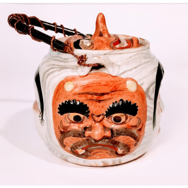 White 19th Century Antique Banko Five Face Mask Teapot For Sale - Image 8 of 12