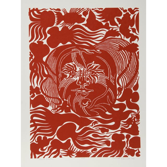 Abstract Manuel Izqueirdo, Marine Garden (Red), Surreal Woodcut For Sale - Image 3 of 3