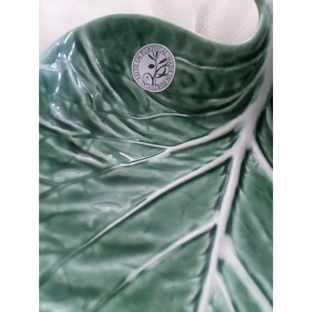Majolica cabbage leaf chips & dip bowl. The piece was produced by Bordallo Pinheiro, Portugal in the '90s.