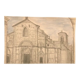 European Church Architectural Study by Inga-Britta Mills For Sale