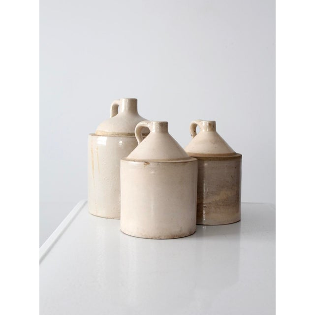 Antique Stoneware Crock Jugs - Set of 3 For Sale - Image 6 of 8