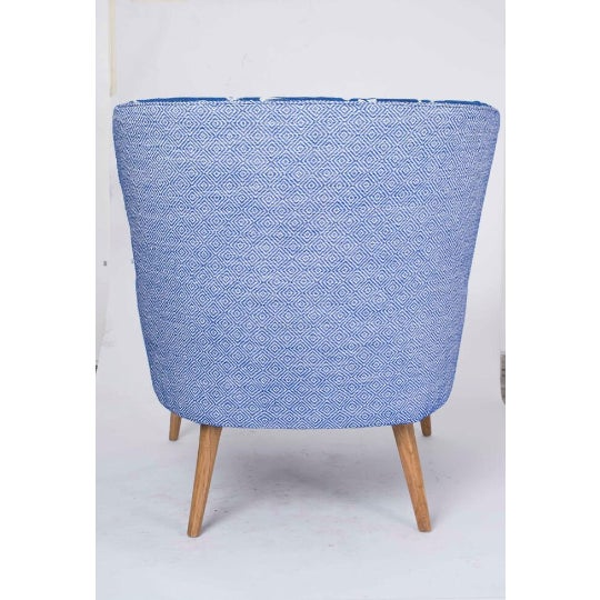 1960s 1960s Boho Chic Blue and White Embroidered Lounge Chair For Sale - Image 5 of 11