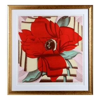 Red Flower, Framed Serigraph by Jack Brusca