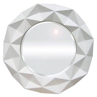 Geometric White Round Mirror For Sale