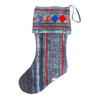 Vintage Tribal Indigo Batik Christmas Stocking For Sale