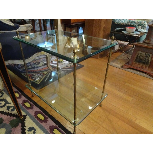 Gold Italian Bronze and Glass Two Tiered Table For Sale - Image 8 of 12