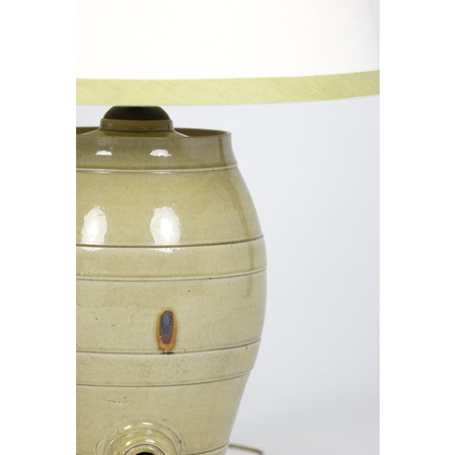 Pale Green Glazed Spirit Barrel, English Circa 1880 Mounted and Wired as a Table Lamp With Linen Shade For Sale - Image 10 of 13