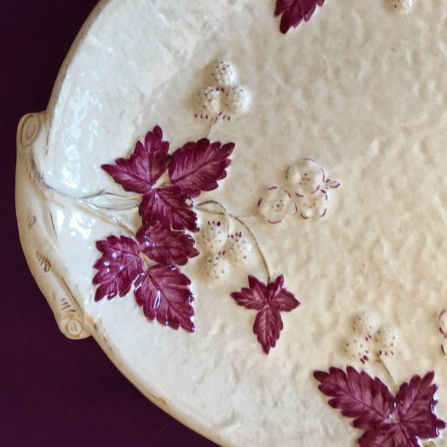 Antique Chesapeake Pottery David Haynes Faience Majolica Raspberries Platter Made in the USA Circa 1890s Avalon Faience...