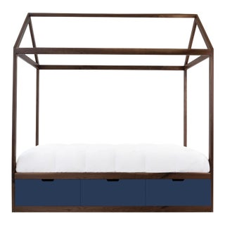 Domo Zen Full Canopy Bed in Walnut With Deep Blue Finish Drawers For Sale