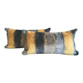 Yellow & Blue Stark Velvet Lumbar Pillows - A Pair For Sale